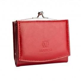 Skórzana mini portmonetka w kolorze czerwonym PD-212B