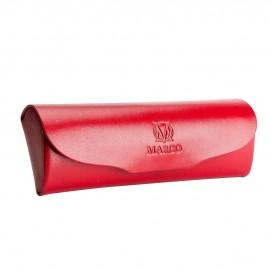 Czerwony skórzany futerał na okulary E-06S