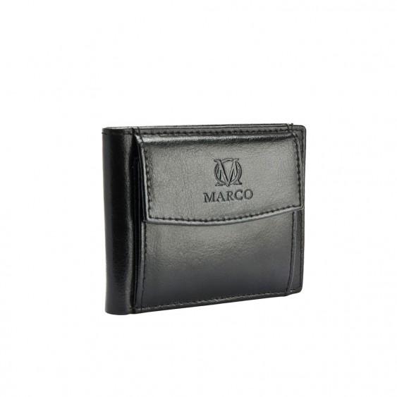 Skórzany mini portfel męski firmy MARCO PM-622B czarny