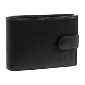 Czarny skórzany mini portfel PM-232
