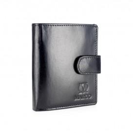 Czarny mały skórzany portfel męski PM-128
