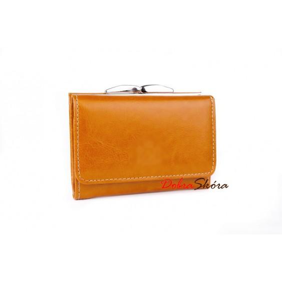Light cognac leather women's wallet