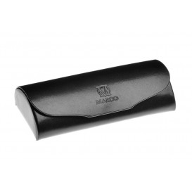 Black leather eyeglasses case