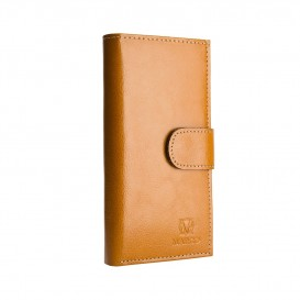 Light cognac leather women's wallet
