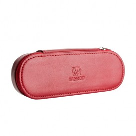 Red leather pencil case with room for eyeglasses