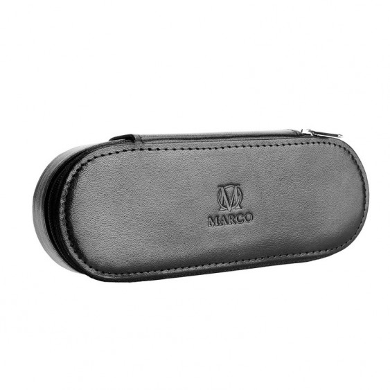 Black leather pencil case with room for eyeglasses