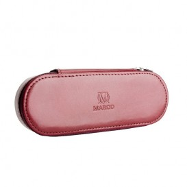 Claret leather pencil case with room for eyeglasses