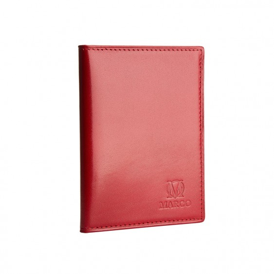 Red leather credit card and ID holder