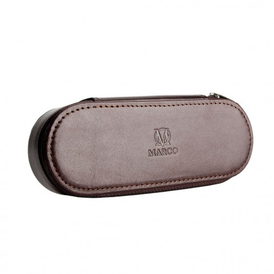 Brown leather pencil case with room for eyeglasses