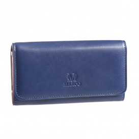 Navy blue leather women's wallet