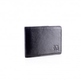 Small black leather business card holder