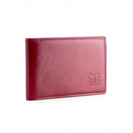 Claret leather credit card and business card holder