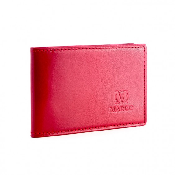 Red leather credit card and business card holder