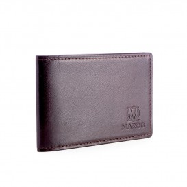 Brown leather credit card and business card holder