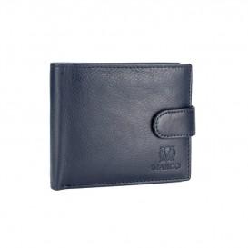 Granatowy skórzany portfel męski