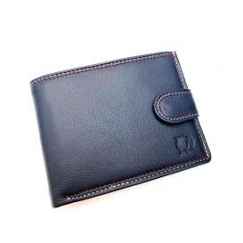 Granatowy skórzany portfel z podwójnym szyciem