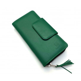 Green leather women's wallet