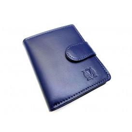 Mały granatowy skórzany portfel damski inny kolor  w środku portfela