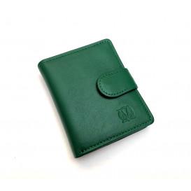 Mała zielona skórzana portmonetka damska