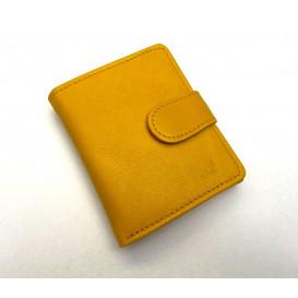 Mała żółta skórzana portmonetka damska