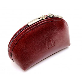 Burgundy leather cosmetic bag