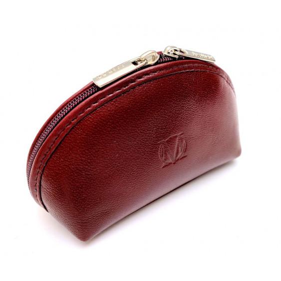 Burgundy leather cosmetic bag