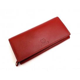 Duża czerwona skórzana portmonetka damska