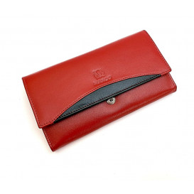 Duża czerwona skórzana portmonetka skóra naturalna bydlęca