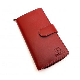 Czerwona skórzana portmonetka zapinana na zamek błyskawiczny