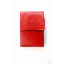 Czerwony skórzany wizytownik z ochroną karty