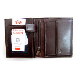 Brown leather men's wallet with RFID
