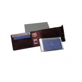 Bordowy skórzany wizytownik z RFID