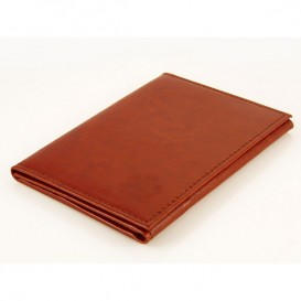 Brown leather credit card and ID holder