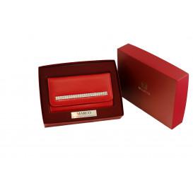 Czerwony portfel z krzyształami Swarovskiego