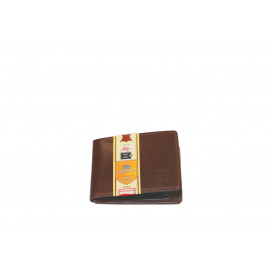Small leather brown business card holder with RFID protection