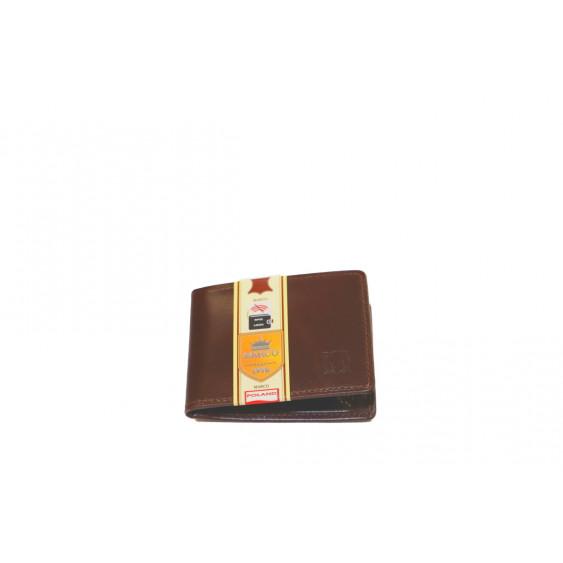 Mały brązowy skórzany wizytownik z RFID