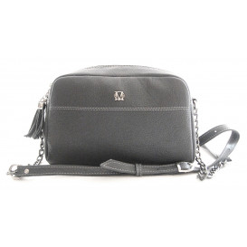 Grey leather cross bag