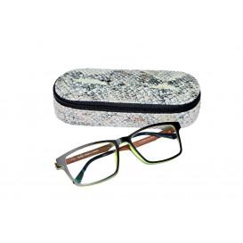 Skórzany piórnik z miejscem na okulary ze specjalnej skóry