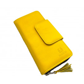 Yellow leather women's wallet