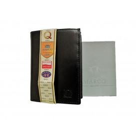 Czarny skórzany portfel z RFID