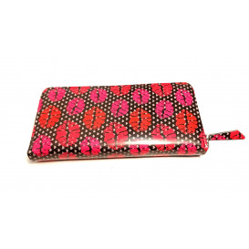 Red leather women's wallet