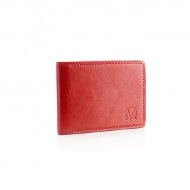 Red small leather business card holder