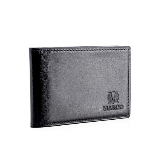 Black leather credit card and business card holder
