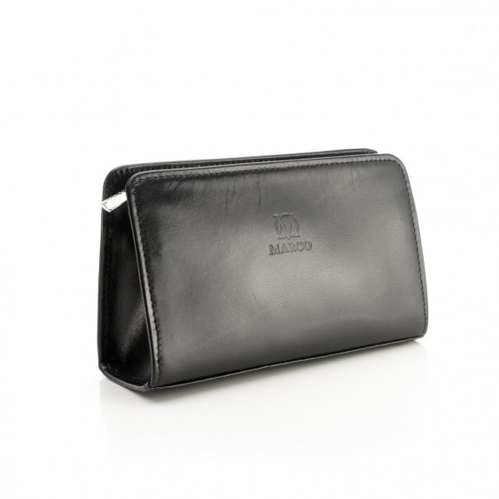 Black leather cosmetic bag