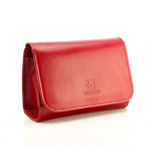 Red leather cosmetic bag with a mirror