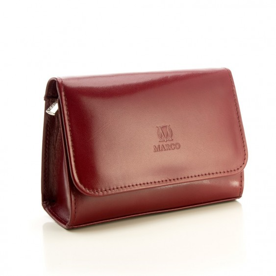 Brown leather cosmetic bag with a mirror