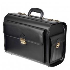 Czarny skórzany kufer, neseser lotniczy z zamkiem szyfrowym