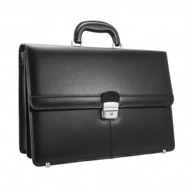 Black leather men's briefcase