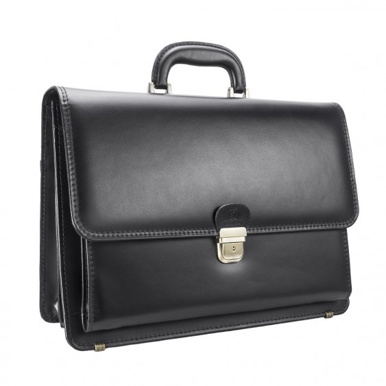 Black leather men's briefcase